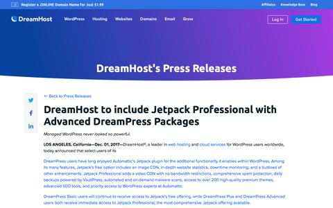 Screenshot of Press Page dreamhost.com - DreamHost to include Jetpack Professional with Advanced DreamPress Packages  – DreamHost - captured Feb. 21, 2020