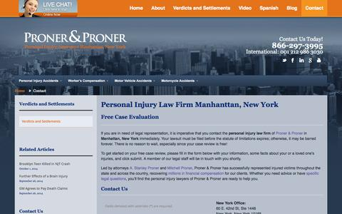 Screenshot of Contact Page prolaw1.com - Contact | Proner and PronerProner and Proner - captured Oct. 3, 2014