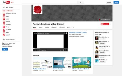 Screenshot of YouTube Page youtube.com - Rostrvm Solutions' Video Channel  - YouTube - captured Nov. 4, 2014