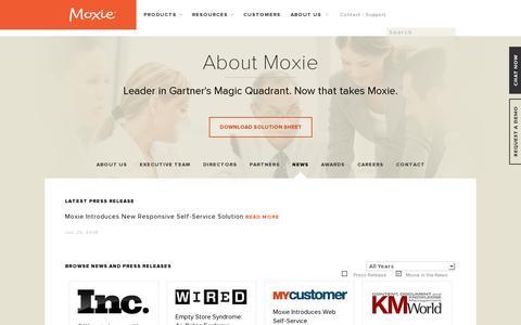 Screenshot of Press Page moxiesoft.com - News | Moxie - captured July 20, 2014