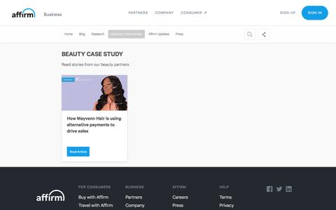 Screenshot of Case Studies Page affirm.com - Beauty Case Study - captured Dec. 4, 2019