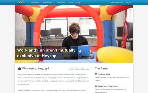 Screenshot of Jobs Page heyzap.com - Jobs at Heyzap - captured July 20, 2014