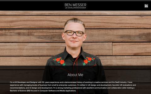 Screenshot of Home Page benmesser.com - Ben Messer Front-end Dev/Design - captured Nov. 6, 2018