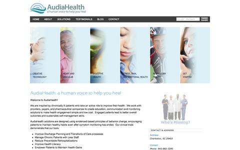 Screenshot of Home Page audiahealth.com - AudiaHealth - a human voice to help you heal - captured Oct. 4, 2014