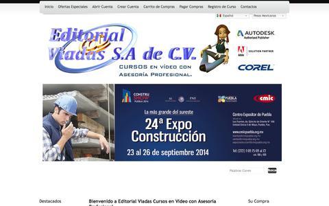 Screenshot of Home Page viadaseditorial.com - Editorial Viadas Cursos en Video AutoCAD, Revit, Robot etc. - captured Sept. 24, 2014