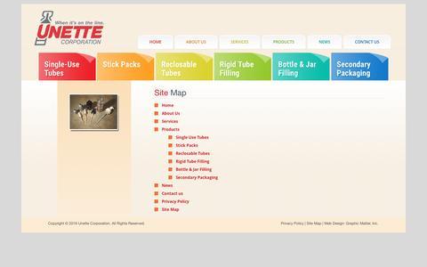 Screenshot of Site Map Page unette.com - Site Map | Unette Corporation - captured Dec. 18, 2016