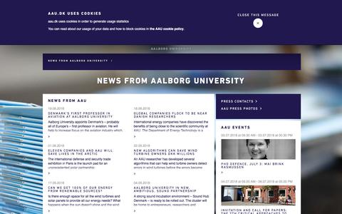 Screenshot of Press Page aau.dk - News from Aalborg University - captured July 2, 2018