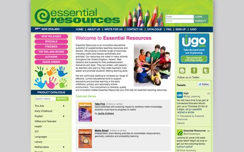 Screenshot of About Page Privacy Page Contact Page FAQ Page essentialresources.co.nz - Welcome to Essential Resources - Innovative Educational Publisher of Teaching Materials - captured Oct. 22, 2014