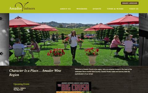 Screenshot of Home Page amadorwine.com - Home | Amador Vintners Association - captured Oct. 4, 2014