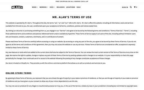 Screenshot of Terms Page mralans.com - Mr. Alan's Terms of Use - captured Nov. 16, 2018