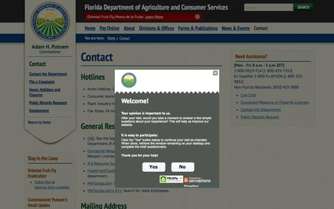 Screenshot of Contact Page freshfromflorida.com - Contact / Home - Florida Department of Agriculture & Consumer Services - captured Nov. 2, 2015
