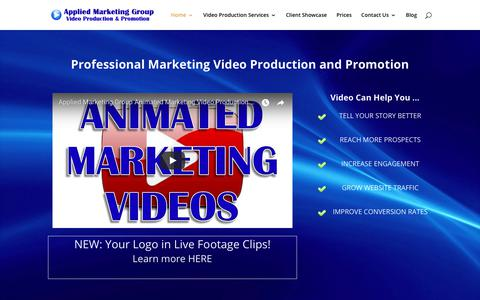 Screenshot of Home Page appliedmarketinggroup.com - Professional Marketing Video Production and Promotion - captured July 30, 2018