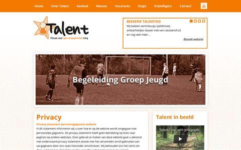 Screenshot of Privacy Page talentonline.nl - Privacy - Zorgbureau Talent - captured Oct. 18, 2018