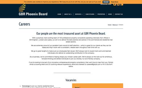 Screenshot of Jobs Page gbrpb.com - Property Consultancy Careers | GBR Phoenix Beard - captured Jan. 22, 2016