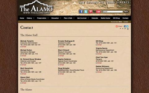 Screenshot of Contact Page thealamo.org - Contact Alamo Staff - captured Sept. 24, 2014
