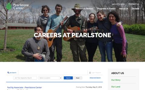 Screenshot of Jobs Page pearlstonecenter.org - Careers | Pearlstone Center - captured July 16, 2018