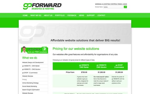 Screenshot of Pricing Page goforward.co.nz - go FORWARD - Pricing for our website solutions - captured Sept. 30, 2014
