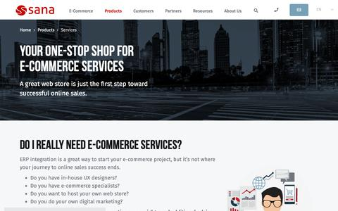 Screenshot of Services Page sana-commerce.com - Services for Integrated E-Commerce for Microsoft Dynamics & SAP | Sana Commerce - captured Jan. 7, 2019