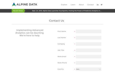 Screenshot of Contact Page alpinenow.com - Alpine Data  Contact Us - captured Nov. 23, 2015
