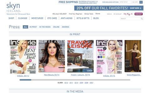 Screenshot of Press Page skyniceland.com - Skyn ICELAND Press - captured Sept. 12, 2014