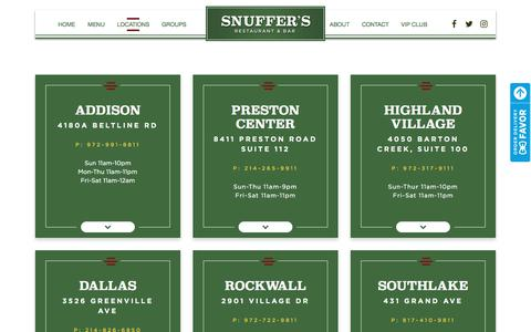 Screenshot of Locations Page snuffers.com - Locations - Snuffer's Restaurant & Bar - captured July 1, 2018