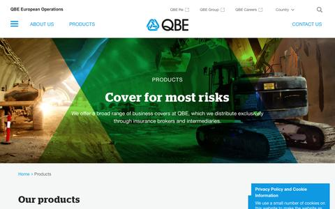 Screenshot of Products Page qbeeurope.com - Products - QBE European Operations - captured Feb. 21, 2017