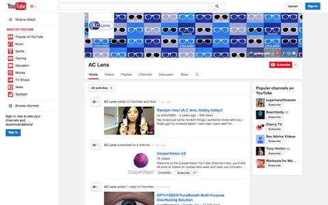 Screenshot of YouTube Page youtube.com - AC Lens  - YouTube - captured Oct. 23, 2014