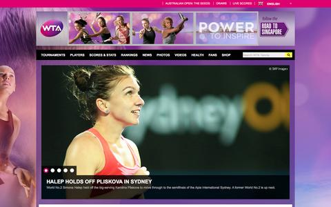 Screenshot of Home Page wtatennis.com - Home | WTA Tennis English - captured Jan. 13, 2016