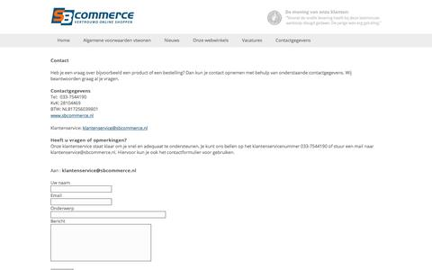 Screenshot of Contact Page sbcommerce.nl - E-commerce specialist | SB Commerce BV - captured Sept. 28, 2017