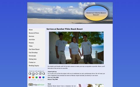 Screenshot of Services Page barefoot.ph - Services | Barefoot White Beach Resort - captured Oct. 5, 2014