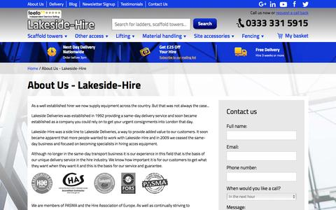 Screenshot of About Page lakeside-hire.co.uk - About Us - Lakeside-Hire - captured May 14, 2017