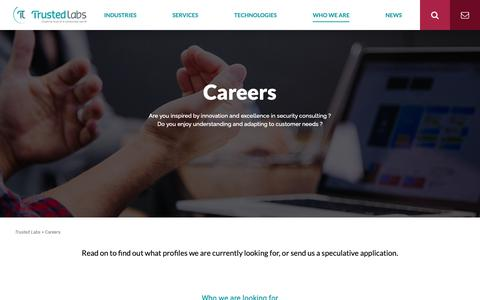 Screenshot of Jobs Page trusted-labs.com - Careers – Trusted Labs - captured Nov. 19, 2018