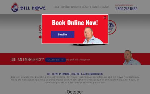 Screenshot of Home Page billhowe.com - San Diego Plumbers, Plumbers San Diego, Bill Howe Plumbing - captured Oct. 5, 2018