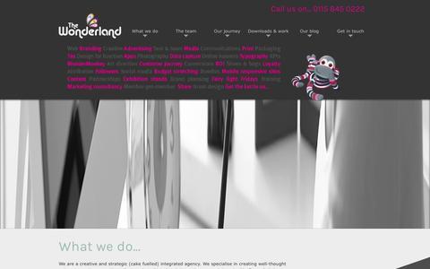 Screenshot of Home Page thewonderland.co.uk - Creative agency Nottingham - The Wonderland, advertising agency, online marketing Nottingham - captured Jan. 12, 2016