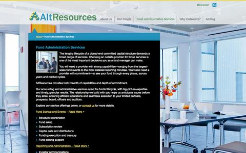 Screenshot of Services Page altrllc.com - Fund Administration Services - AltResources - captured Oct. 4, 2014