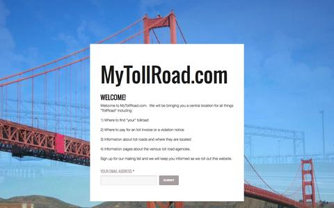 Screenshot of Home Page mytollroad.com - MyTollRoad - captured Oct. 6, 2014