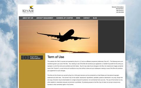 Screenshot of Terms Page keyair.com - Terms of Use | Key Air - captured Jan. 9, 2016