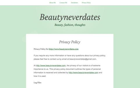 Screenshot of Privacy Page wordpress.com - Privacy Policy – Beautyneverdates - captured May 2, 2016