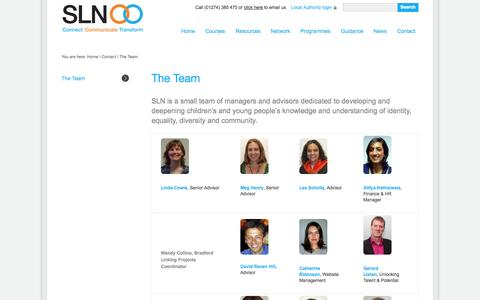 Screenshot of Team Page schoolslinkingnetwork.org.uk - The Team,SLN,Dave Norman,Local Authority Advisors | Schools Linking Network - captured Sept. 30, 2014