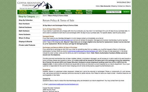 Screenshot of FAQ Page coppermountainhardware.com - Return Policy & Terms of Sale - captured Dec. 12, 2015