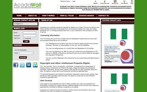 Screenshot of Terms Page acadawall.com - Acadawall | Contact databases, leads, mailing and marketing list| Terms - captured Oct. 4, 2014