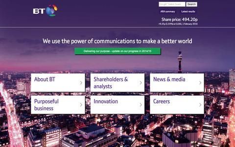 Screenshot of Home Page btplc.com - BT Plc - captured Feb. 1, 2016