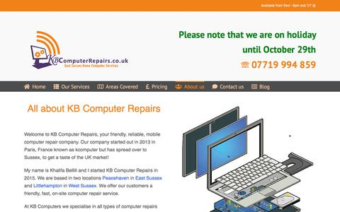 Screenshot of About Page kbcomputerrepairs.co.uk - About KB Computer Repairs ® | Computer Repairs At Home - captured Oct. 25, 2019