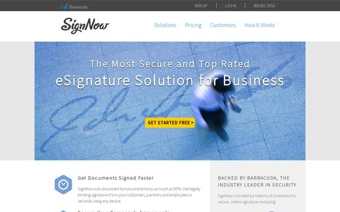 Screenshot of Home Page signnow.com - SignNow: Sign Documents Online | Electronic Signatures - captured July 12, 2014