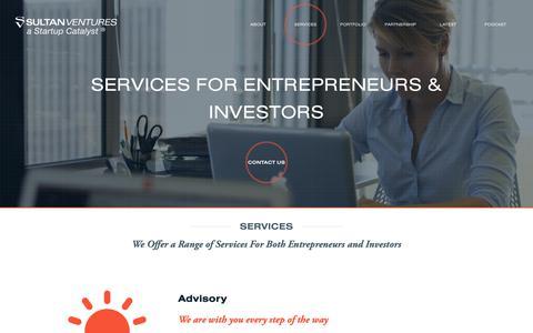 Screenshot of Services Page sultanventures.com - Services - Sultan Ventures - captured Oct. 19, 2018