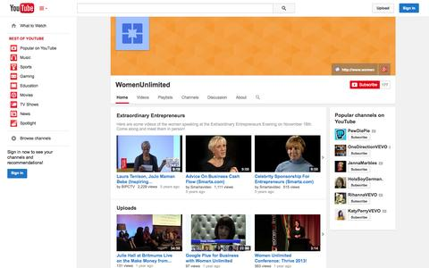 Screenshot of YouTube Page youtube.com - WomenUnlimited  - YouTube - captured Nov. 2, 2014