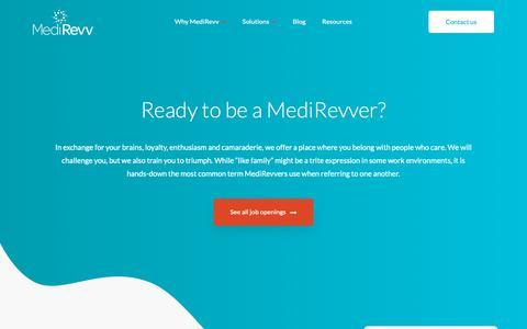 Screenshot of Jobs Page medirevv.com - Revenue Cycle Management Careers | MediRevv - captured May 16, 2019