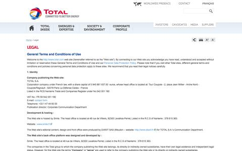 Screenshot of Terms Page total.com - Mentions légales | total.com - captured Sept. 18, 2014