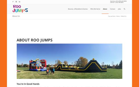 Screenshot of About Page roojumps.com - About Us - Roo Jumps - captured Oct. 18, 2018