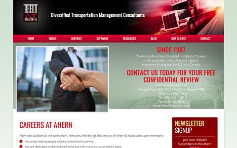 Screenshot of Jobs Page ahern-ltd.com - Careers In The Trucking Consulting Industry - captured Feb. 5, 2016
